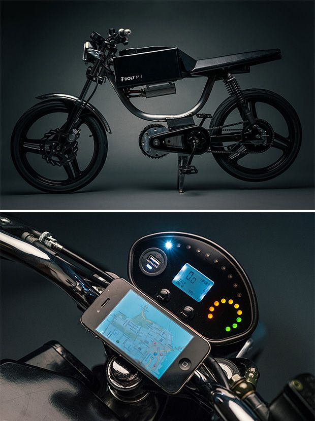 Bolt M-1  San Francisco-based Bolt has created a new eco-friendly motorcycle with the light, nimble look of a moped. The M-1 is 100% electric & drives in 2 modes: In Sport mode, it reaches up to 40mph across a 30 mile range. In Economy mode, it'll go 20 mph across 50 miles.  It's also fully connected to your smartphone.