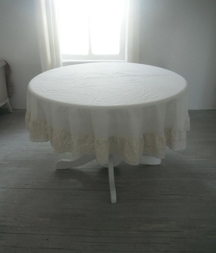 Cream Tablecloth Round Tablecloth Ruffled Edge Cloth Cottage Chic Eyelet  Cotton Edge French Country Vintage Tablecloth