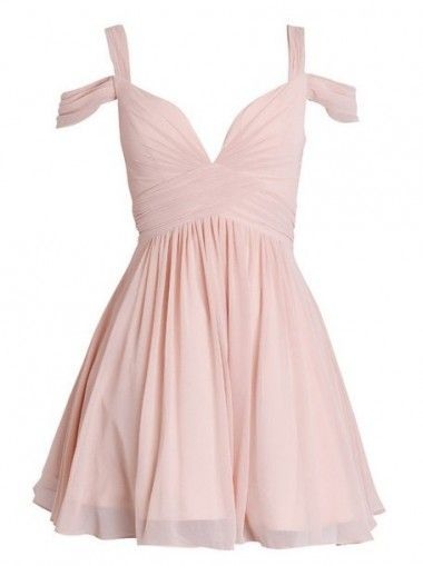 Pink A-line Sweetheart Short Ruched Chiffon Bridesmaid Dress/Homecoming Dress