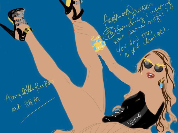 Anna dello Russo fashion shower #portrait #illustration Open Toe - Opentoeillustration.com