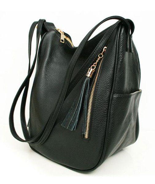 Black Leather Hobo Backpacks cum Shoulder backpacks for Womens