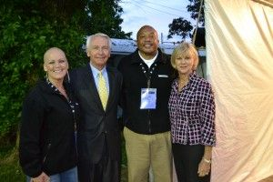 Survivor Ambassadors for the James Graham Brown Cancer Center, Jessica Rizzo and Reginald Caldwell, with Governor Steve Beshear and First Lady Jane Beshear at Churchill Downs