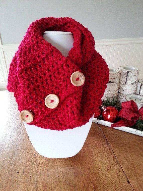 SALE Infinity red scarf  Red snood  Red knit by KnittingMade4you