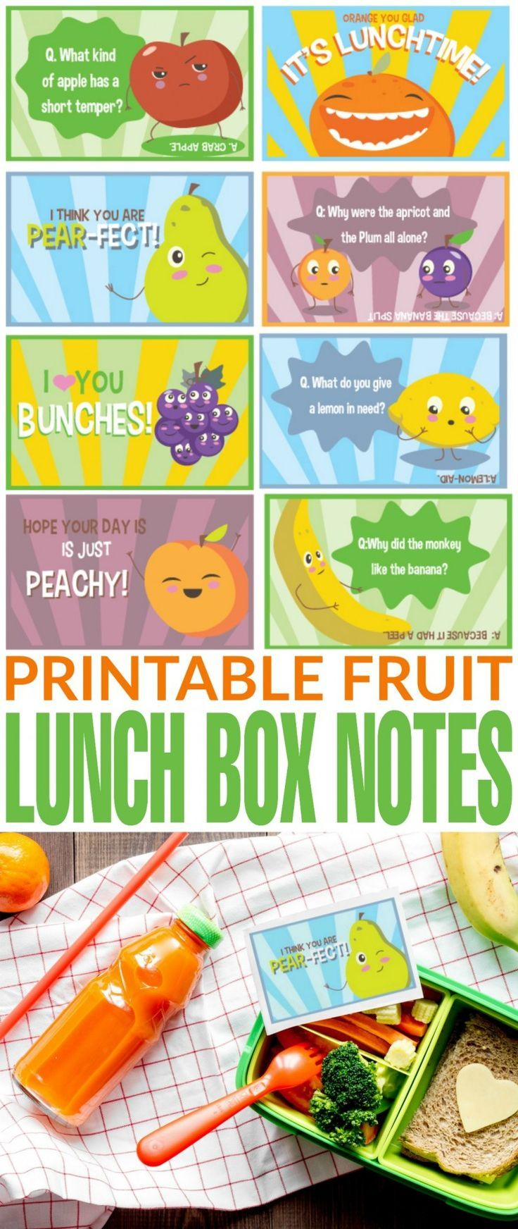 These Free Printable Fruit Lunch Box Notes are super fun and cute don't you think? They bring me back to my childhood and the lunch notes my dad used to leave in my lunch from time to time.