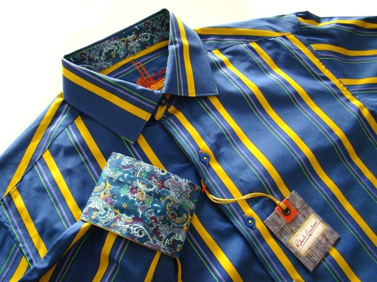 $198 Nwt Robert Graham Ryan Blue Yellow Stripes Vibrant Contrasting Cuffs Shirt #RobertGraham #ButtonFront
