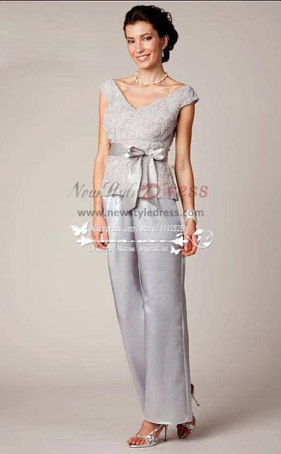 V-Neck Mother of the bride pant suit Gray satin with lace