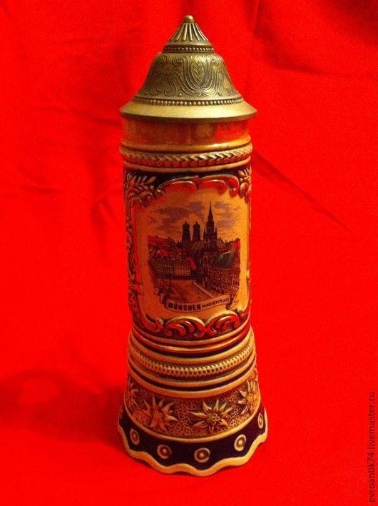 Винтажные предметы интерьера. Ярмарка Мастеров - ручная работа. Купить Старинная музыкальная пивная кружка керамика олово. Handmade. Разноцветный
