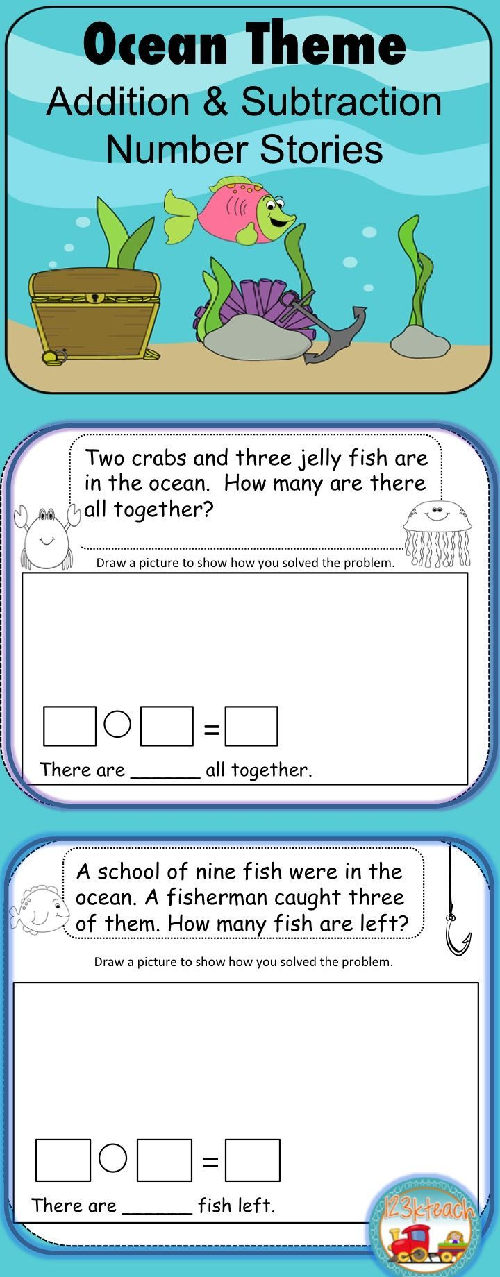 Word Problems Ocean Theme Addition Subtraction K Oa 2 1 Oa 1 Digital Printable Word Problems Addition And Subtraction Story Problems Kindergarten [ 1840 x 720 Pixel ]
