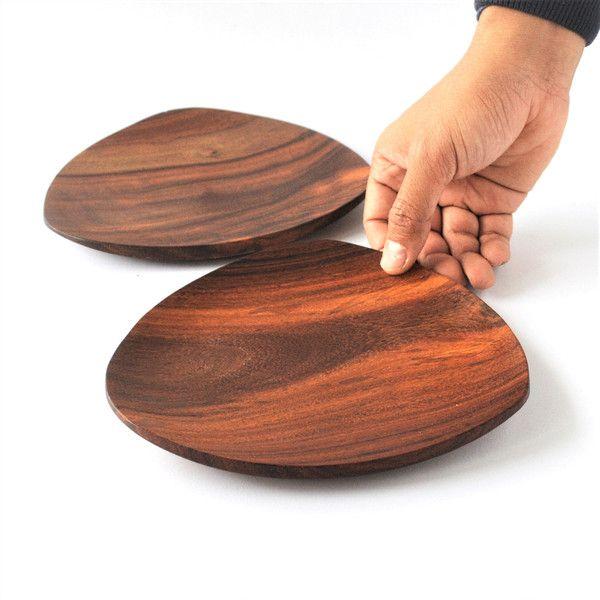 Küche & Kochen - Dreieck Holz Snack Platte - ein Designerstück von Omar-Handmade bei DaWanda