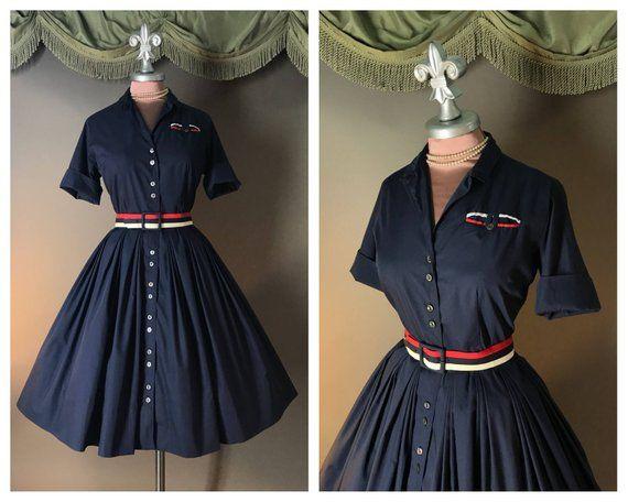 Soft Navy Silver Striped Skort Suit 1960s Size XS