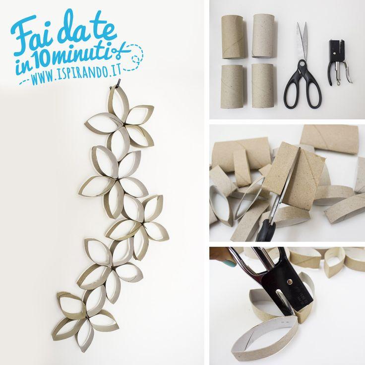 Creare una semplice decorazione murale utilizzando i cartoni della carta igienica! Da fare in soli 10 minuti! #DIY #fastDIY #paperroll
