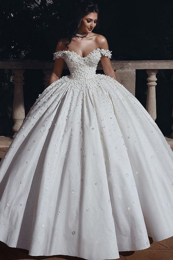 NEW! Marvelous Tulle & Satin Off-the-shoulder Neckline Ball Gown Wedding Dresses With Beadings & Handmade Flowers & 3D Flowers