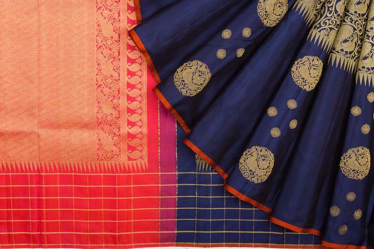 Kanchipuram Silk Jaal Blue Saree    Kankatala