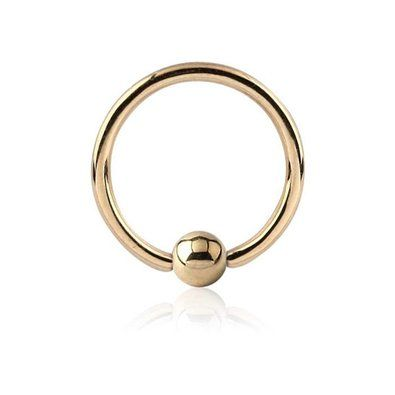 18 ct Gold Ball Closure Ring with Hollow Ball