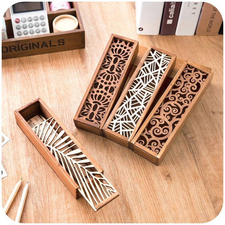 South Korea creative stationery lace hollow wooden pencil case, pencil box multifunction students