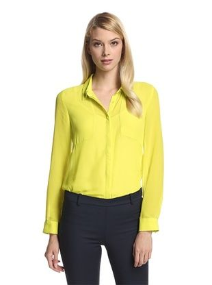 68% OFF Trend Tahari Women's Sheer Panel Button-Up Shirt (Citrus)