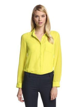 68% OFF Trend Tahari Women's Sheer Panel Button-Up Shirt (Citrus)