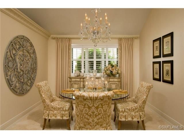 Traditional Formal Dining Room With Round Glass Table For Four Love The Upholstery Fabric On Naples FloridaFormal