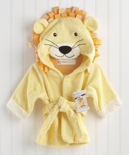 Baby Aspen Yellow Lion Hooded Bathrobe - Infant | zulily