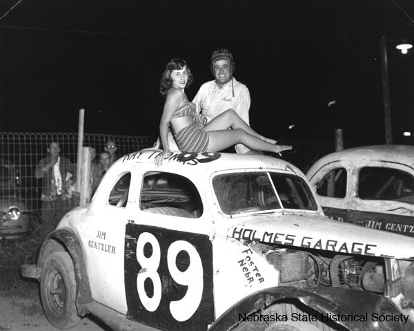 Harold & Tina Mauck with stock car #89, ca. late 1950s ...