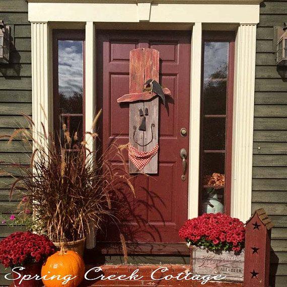 Primitive Scarecrows Halloween Fall Decor Handpainted
