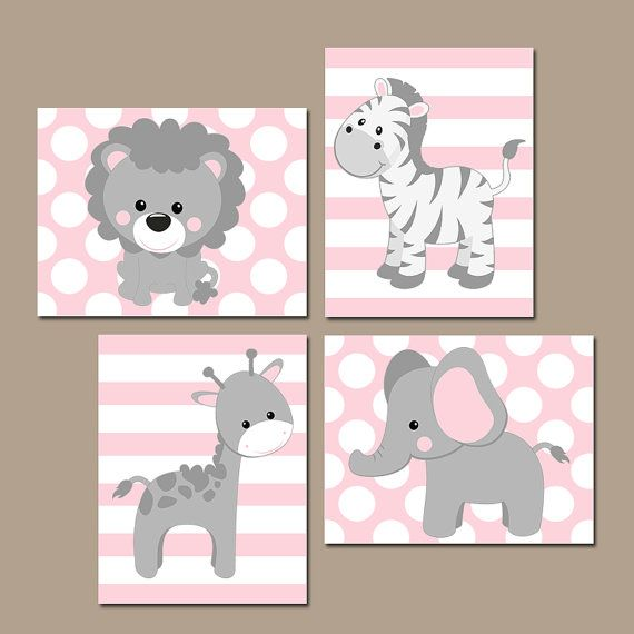 Baby Girl Nursery Wall Art, Pink Gray Nursery Artwork, Elephant Giraffe Zebra Lion, Safari Animals Decor Bedroom, Canvas or Print Set of 4