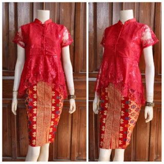 Broklat Kebaya Batik motif prada merah