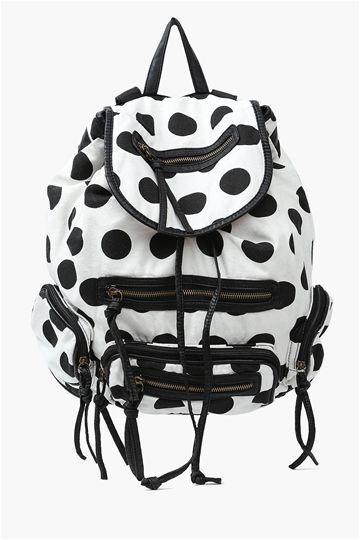 Polka Dot Back Pack in Black/White