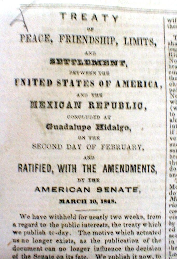 best mexican american war images mexican 1848 newspaper mexican american war ends peace treaty