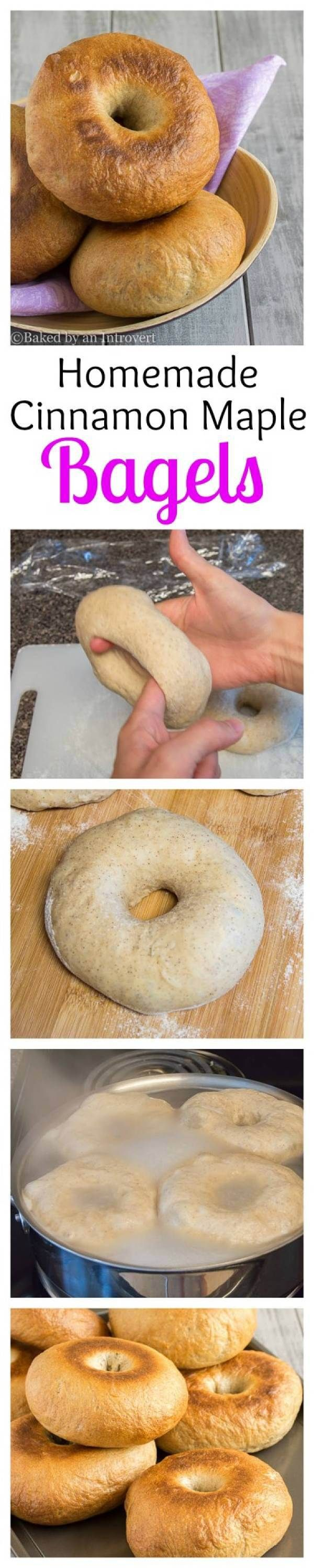 Homemade Cinnamon Maple Bagels | @introvertbaker | bakedbyanintrovert.com