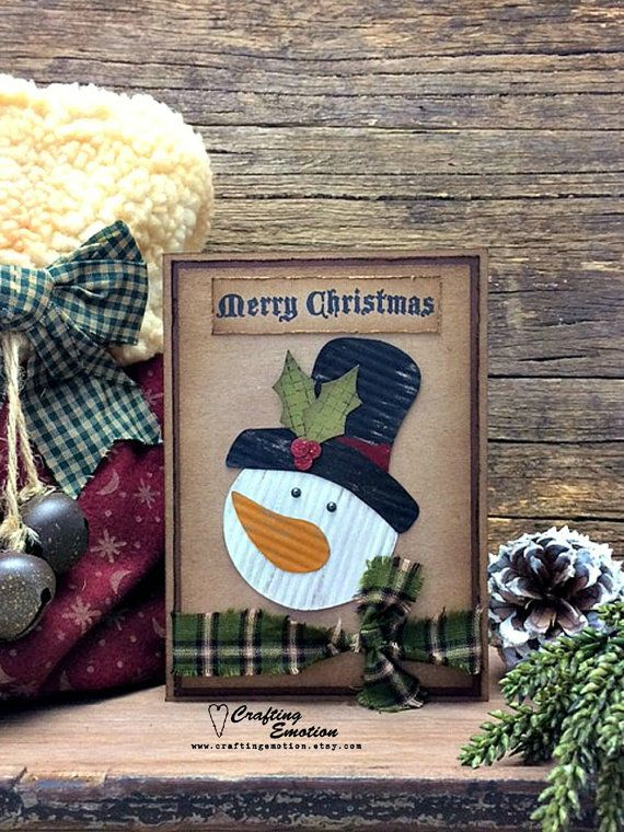 Handmade Rustic, Primitive, Christmas Greeting Card by Crafting Emotion $14.75AUD