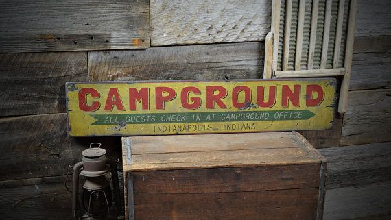 Custom City State Campground Sign - Rustic Hand Made Vintage Wooden Sign ENS1000417