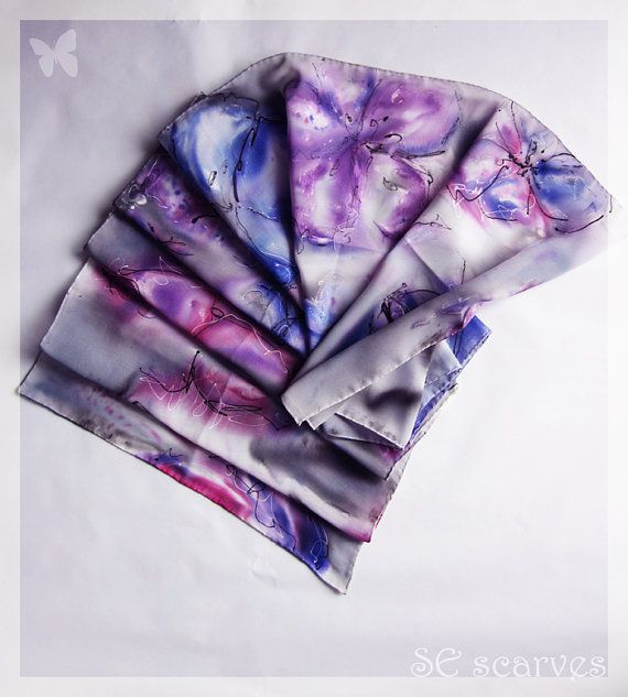 Hand painted scarf. Chiffon scarf. Cloudy with a chance of flowers by SEscarves, €38.00
