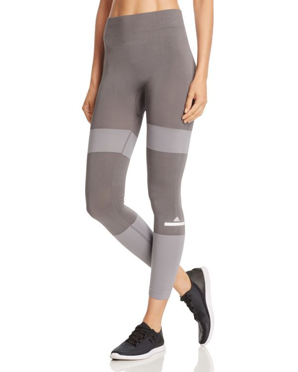 adidas by Stella McCartney Ess Seamless Stripe Leggings   Polyester/elastane   Machine wash   Imported   Fits true to size, order your normal size   Elasticized waistband, contrasting stripes, pull-on