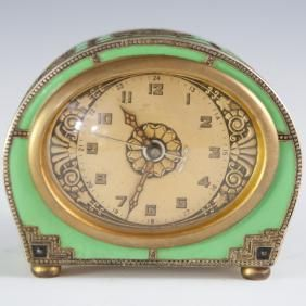 Kienzle German Swiss Art Deco Enameled Alarm Clock
