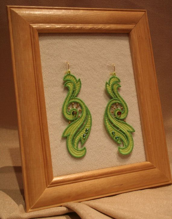 All embroidered Lace Jewelry are designed and embroidery by me. In their lace jewelry I only use high quality lace motifs.  You can find in my store embroidered lace jewelry, earrings, braselets, watches, purses, belts etc. https://www.etsy.com/shop/LaceMotif