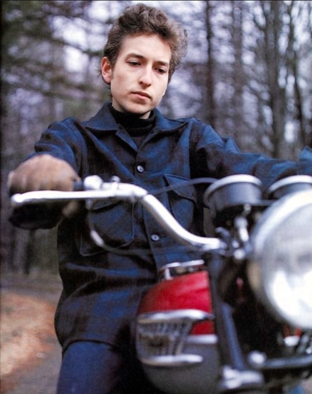 Bob Dylan on a motorcycle