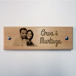 Engraved Wooden Name Plate - Photo Vignette  A special gift for the newly weds  Gift yourself a name board for your home! See more designs on engrave.in