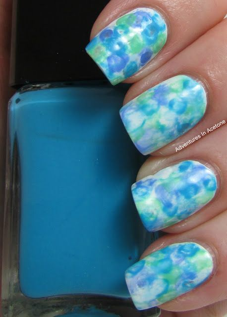 Subtly colored watercolor nails from Adventures in Acetone. These remind me a bit of 50s sundresses...