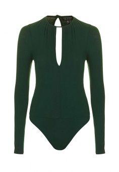 Боди Topshop, цвет: зеленый. Артикул: TO029EWMTL65. Женская одежда / Боди