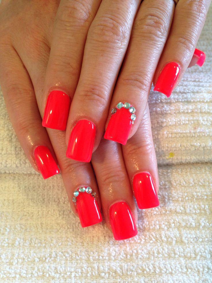Bright Coral Gel Nails w/ Rhinestones