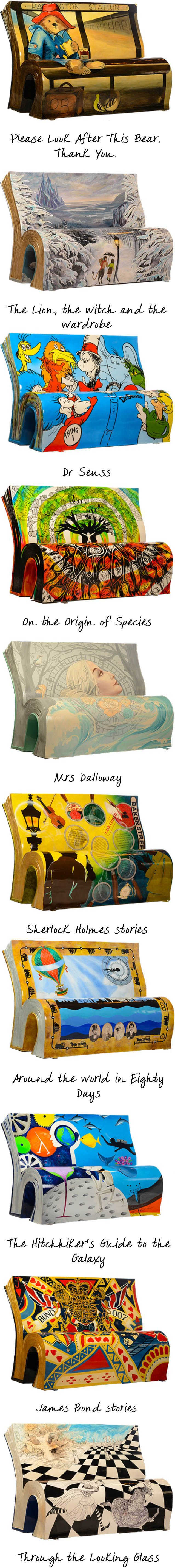 These are 10 of the 50 literary benches that the National Literary Trust and Wild in Art have put up all over London to celebrate reading. That's so cool! :D