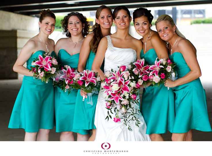 aqua blue short bridesmaids dresses pink, white, and green bouquets star gazer lilies bridesmaid and bridal (cascade) bouquets