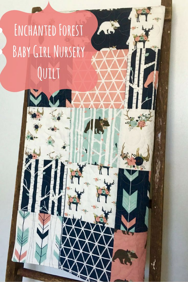 Enchanted forest baby girl nursery quilt. #babygirl #enchantedforest
