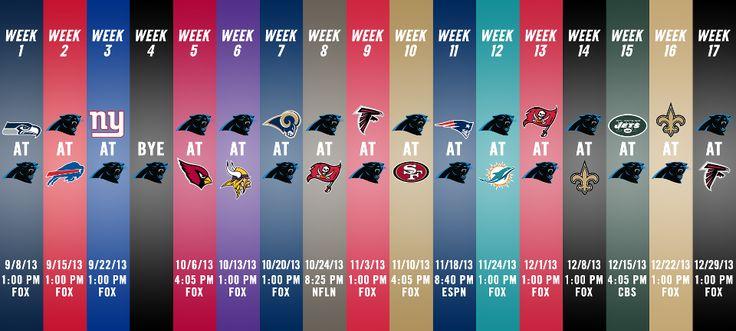 Carolina Panthers' Game Schedule 2013