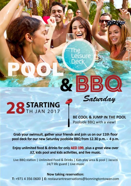 Be cool & jump in the pool! New poolside BBQ Saturdays are kicking off this Saturday at 12.30 p.m. Great food, live music, and views over the JLT skyline! http://qoo.ly/desp2