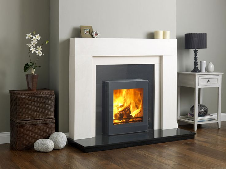 Inset fire Grey/White surround