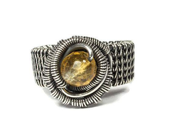 Tamaño 6 1/2 anillo de citrino plata, anillo de alambre de Pinkie, regalo de aniversario de 17, joyas de piedra de noviembre