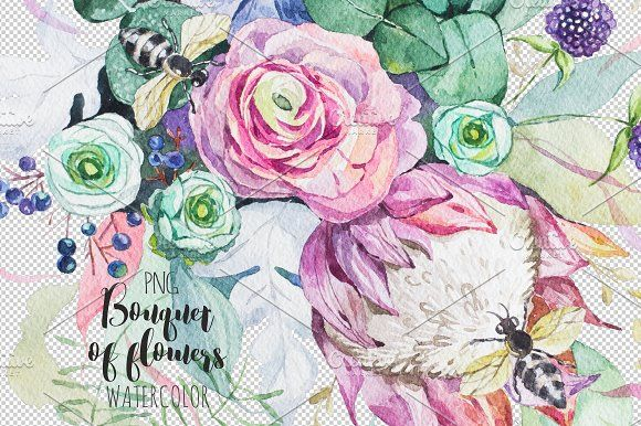Bouquet of flowers. Watercolor. by OlgaAlekseenko on @creativemarket