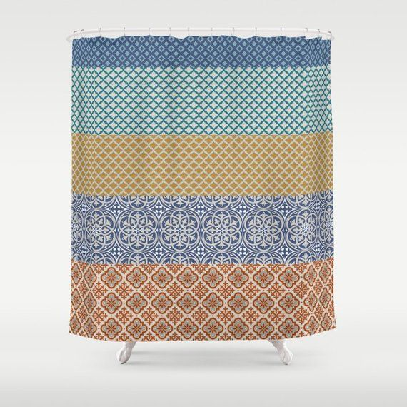 Moroccan Mosaique Shower Curtain 70 X 70 Or 70 X 84 Cream Blue